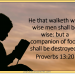 He that walks with wise men shall be wise, but a companion of fools shall be destroyed