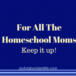 Homeschool Moms Keep It Up!