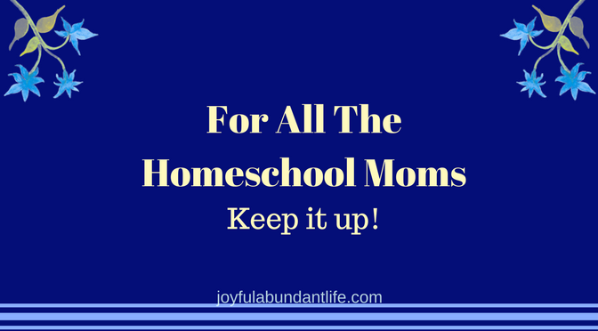 Homeschool Moms Keep It Up!