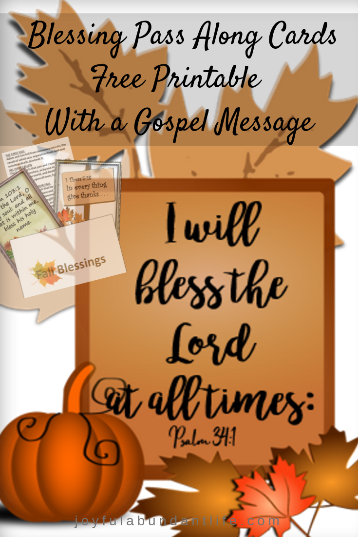 Fall Autumn Blessing Pass Along cards with a gospel message