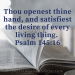 Thou openest thine hand, and satisfiest the desire of every living thing. (Psalm 145:16)