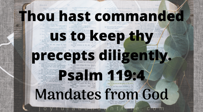 Thou hast commanded us to keep thy precepts diligently. Psalm 1194